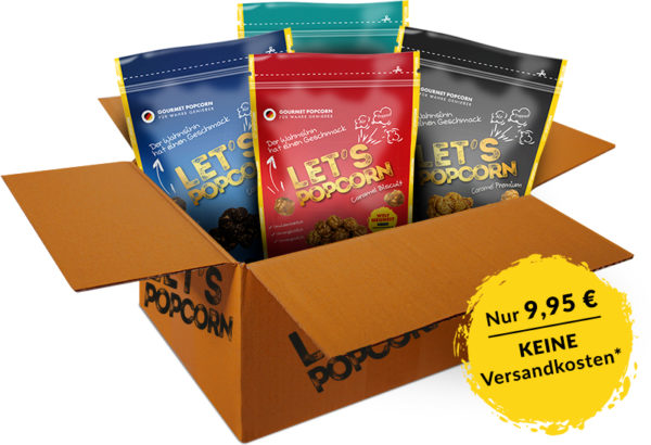 LetsPopcorn, Starter-Paket, Vier Sorten, Caramel Biscuit, Caramel Premium, Caramel SeaSalt, Cookies and Cream