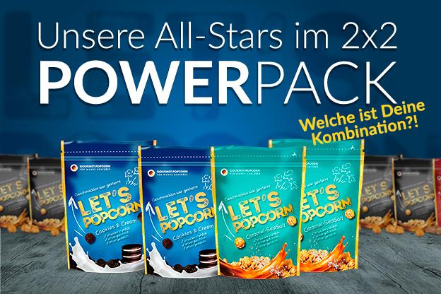 Let's Popcorn Power Pack - 2x2 je Sorte Cookies and Cream, Caramel Biscuit, Caramel SeaSalt, Caramel Premium
