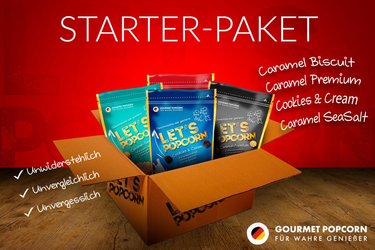 Let's Popcorn Starter Paket - je 1x Cookies and Cream, Caramel Biscuit, Caramel Seasalt, Caramel Premium