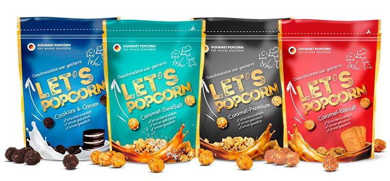 Let's Popcorn, Cookies and Cream, Caramel Biscuit, Caramel Sesalt, Caramel Premium